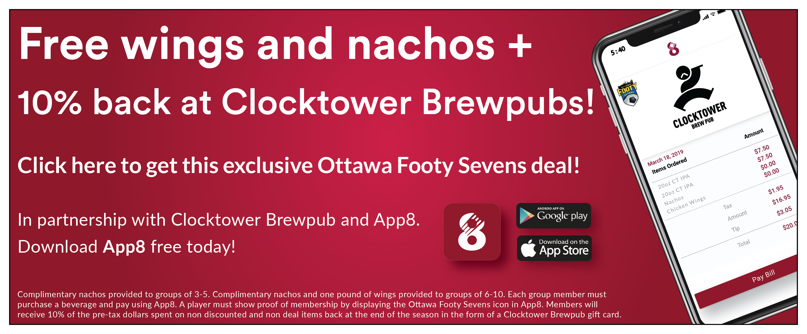 App8, Clocktower and Footy Sevens Offer